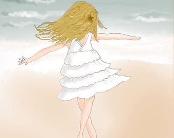 Art for Beach Houses - Women and Childrens Art - Twirl- Art for Childrens Room -   Art Print - 8x10