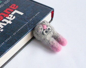Rabbit bookmark Wool gray grey animal Cute bunny Fun reading Original accessory Bookworm geek teacher school Book Gift for him and her