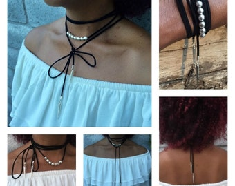Lariat Necklace, Tie Necklace, Leather Lariat, Faux Leather Lariat, Wrap Bracelet, Bullet Dagger, Spike Charm, Necklace, Gift for Her
