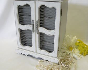 White Painted Jewelry Box - Weathered Finish - Shabby Chic, French Country Cottage, Beach Coastal or Farmhouse Home Decor -Vintage Upcycled