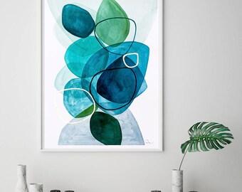 Abstract art print, blue geometric art, painting print, abstract wall art giclee print, VictoriAtelier