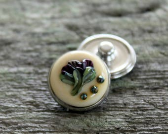 Floral Fantasy Snap Button Ivory Purple Mix Silvered Glass
