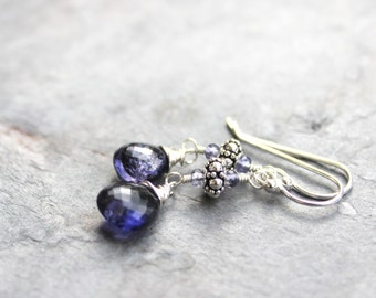 Briolette Iolite Earrings Blue Gemstone Earrings Sterling Silver Water Sapphire