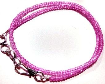 Necklace Pink  Zircon Gemstone 2x3 mm 13 Inch Strand