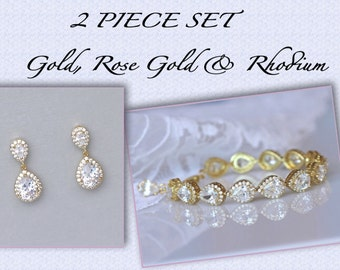 GOLD Bridal Set, Gold Earrings & Bracelet Set, Teardrop Earrings Set, Crystal Jewelry Set, Gold Bridesmaids Set, TAMARA S4