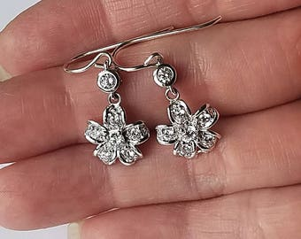 Minimalist Sterling Silver Cubic Zirconia Solitaire Flower Earrings Best Gifts For Her