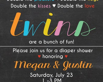 Twin baby shower invite, diaper shower invite, couples shower invite, downloadable