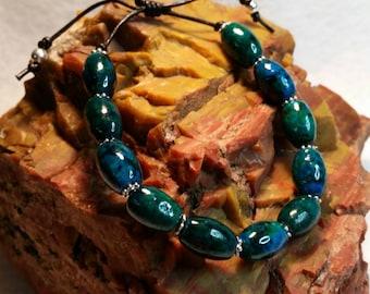 Chrysocolla Adjustable Leather Bracelet