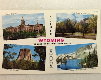 Vintage WY Postcard Scenic Wyoming Land of Wide Open Spaces PM 1957
