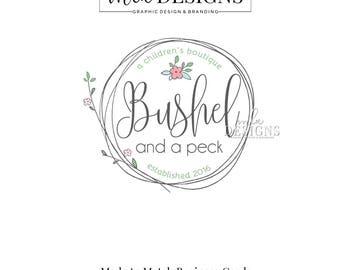 Round Logo - Boutique Logo, Boutique Logo, Custom Logo, Premade Logo, Boutique Children's Logo, Wreath Logo
