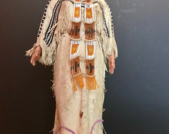 Native American Indian Doll with Traditional Lakota Sioux Cherokee Wedding Dress with Beadwork, Exceptional, One of a Kind