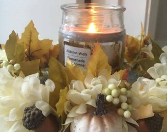 White Autumnal candle holder