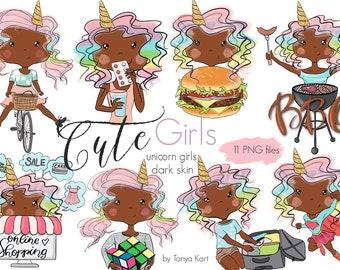 Dark skin toned Girls, Planner Girls stickers, African American girls, Unicorns Girls, Planner girl Clipart, Funny girls clipart, Supergirl