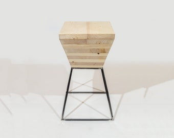 Stool, seat, solid wood and iron