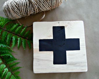 Swiss Cross-Natural Wood Sign- Gallery Wall