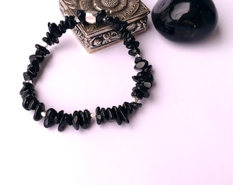 Black stone bracelet sterling silver TOURMALINE gemstone stretchy bracelet. ENERGY: HEALTH-Protection, Physical Balance, Relaxation