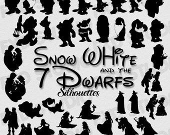 Snow White And The 7 Dwarfs Silhouettes Clip Art Images, Snow White And The 7 Dwarfs Clip Arts, Clip Art Design Elements, Disney Silhouettes