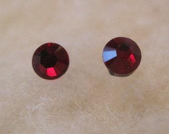 Niobium Post Earrings - Siam Red (2mm, 4mm, or 5mm) - Hypoallergenic Earrings for Sensitive Ears // Nickel Free Post Earrings