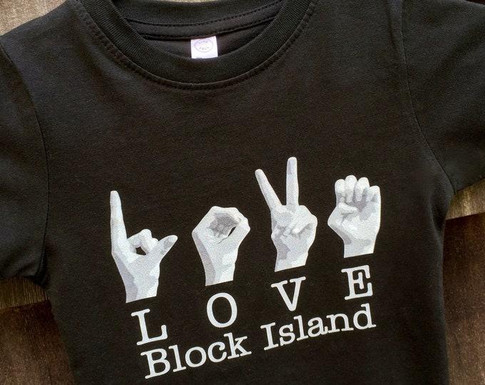 ASL LOVE Block Island Destination Tee Shirt - American Sign Language - Cotton T shirt - LAT Apparel - Ladies Tees s, m, l, xl, xxl