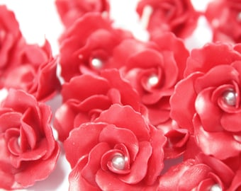 Miniature Roses Handcrafted Clay with Pearl bead, 10 pcs.