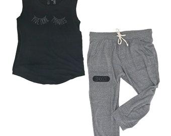 Pajama Set for Women, PJs Bedtime Sleepy Eyes Tshirt, Eye Lashes Shirt, Mother's Day Gift, Black Cap Sleeve Tee, FIVE MORE MINUTES