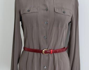 Khaki Taupe 40s Style Silk Military Army Shirt Blouse
