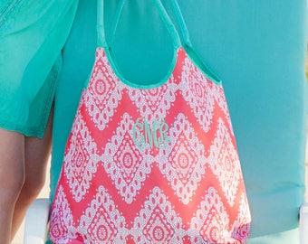 Personalized Coral Beach Bag Monogrammed Beach Bag Stylish Travel Bag Summer Beach Bag Embroidered Beach Bag