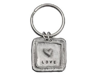 Square with Heart Pewter Key Ring