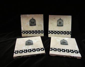 Handmade tile Lovebird coasters (set of four)