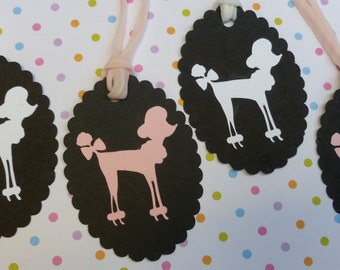 French Poodle Gift Tags, Set of 4, Adorable Pink and White Handcrafted Poodles, Scalloped Card Stock, Unique gift tag set