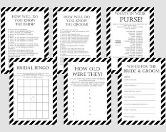 Modern Black and White Stripes Bridal Shower Games Package Set, Unique Bridal Shower Games, White background game, Wedding Shower Games BS08