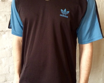 Vintage Adidas T-shirt Black Blue Large