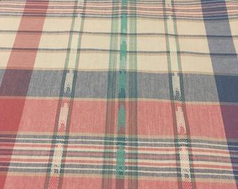 Vintage medium lightweight plaid in blue, teal, and pink