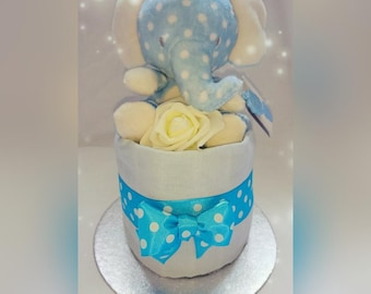 Cute Mini One Tier Spotty Elephant Blue or Pink Nappy Cake With Decorative Roses
