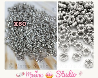 Set of 50 silver metal beads silver shiny 3, 5 x 3, 2mm (MS25250)