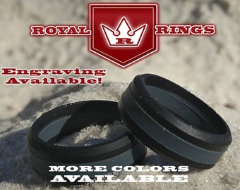 Men's Black & Gray Silicone Wedding Ring Durable Flexible Wedding Ring Band  Fathers, Military, Husband Crossfit Gym Fitness