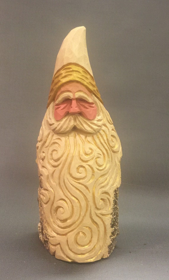 HAND CARVED original white and gold Santa bust from 100 year old Cottonwood Bark.