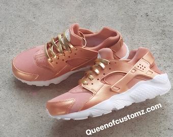 ... c0239 99dc9 Premium Custom Rose Gold Nike Huarache best sell ... 92570eddde