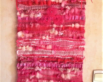 "Textile art, weaving wall hanging ""La Charmante"", wall art, handmade, unique and original textil tapestry"
