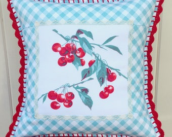 sweet vintage cherry and aqua gingham pillow cover 16x16