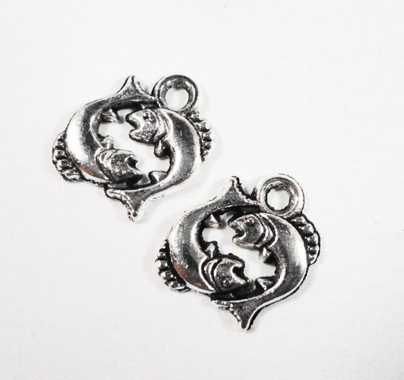 50pcs Silver Pisces Charms 12x12mm Antique Silver Zodiac Charms, Astrology Charms, Horoscope Charms, Small Pisces Pendants Bulk Metal Charms