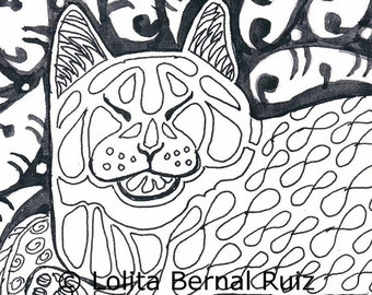 Cat zentangle, kitty doodle, ink drawing print, zendoodle, illustration, black and white, reproduction, 8 x 10 inch, P109