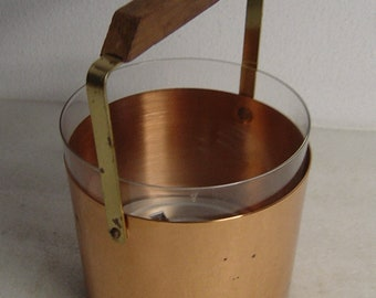 Midcentury copper and brass ice bucket wine cooler with inner glass and teak handle