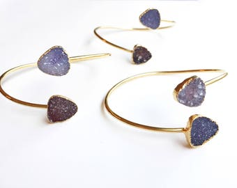 Mothers Day from Daughter Purple Druzy Cuff Bracelet Druzy Bracelet Druzy Jewelry Statement Drusy Jewelry Druzy  Janna Conner