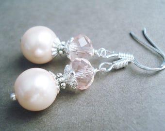 Sterling Silver Pink Earrings Pearl Jewelry Bridesmaid Earrings Wedding Jewelry Silver Earrings Pink Jewelry Pearl Earrings Bridal Jewelry