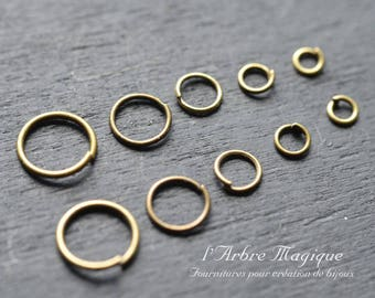 10 grams of all sizes color split rings bronze