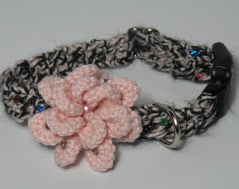 Light Pink and Black  Adjustable Crochet Dog Collar w/ Flower w beads X  Small