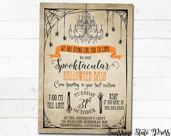 Halloween Party Invitation, Halloween Invitations, Halloween Invite, Costume Party Invitation, Printable or Printed, customized for you!