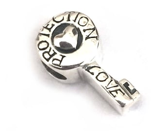 Key with Heart Love Protection Sterling Silver Large Hole Bead