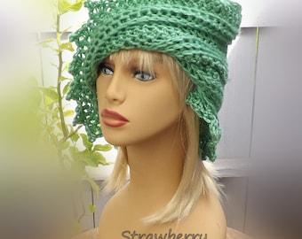 Womens Crochet Hat,  Womens Hat Trendy,  50th Birthday Gift for Women,  Sage Green Hat,  Lauren Crochet Beanie Hat,  Winter Hat